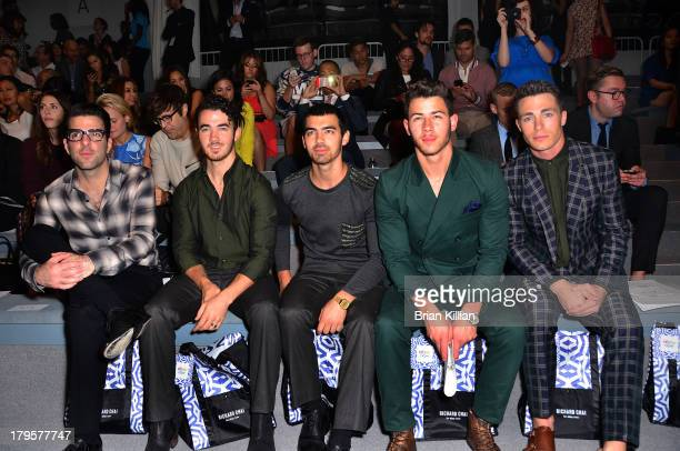 Zachary Quinto Kevin Jonas Joe Jonas Nick Jonas and actor Colton Haynes attend the Richard Chai Love Richard Chai Men's show during Spring 2014...
