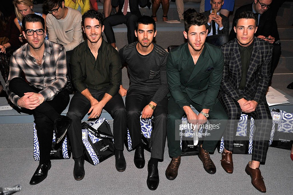 <a gi-track='captionPersonalityLinkClicked' href=/galleries/search?phrase=Zachary+Quinto&family=editorial&specificpeople=715956 ng-click='$event.stopPropagation()'>Zachary Quinto</a>, <a gi-track='captionPersonalityLinkClicked' href=/galleries/search?phrase=Kevin+Jonas&family=editorial&specificpeople=709547 ng-click='$event.stopPropagation()'>Kevin Jonas</a>, <a gi-track='captionPersonalityLinkClicked' href=/galleries/search?phrase=Nick+Jonas&family=editorial&specificpeople=842713 ng-click='$event.stopPropagation()'>Nick Jonas</a>, <a gi-track='captionPersonalityLinkClicked' href=/galleries/search?phrase=Joe+Jonas&family=editorial&specificpeople=842712 ng-click='$event.stopPropagation()'>Joe Jonas</a> and <a gi-track='captionPersonalityLinkClicked' href=/galleries/search?phrase=Colton+Haynes&family=editorial&specificpeople=4282136 ng-click='$event.stopPropagation()'>Colton Haynes</a> attend the Richard Chai Spring 2014 fashion show during Mercedes-Benz Fashion Week at The Stage at Lincoln Center on September 5, 2013 in New York City.