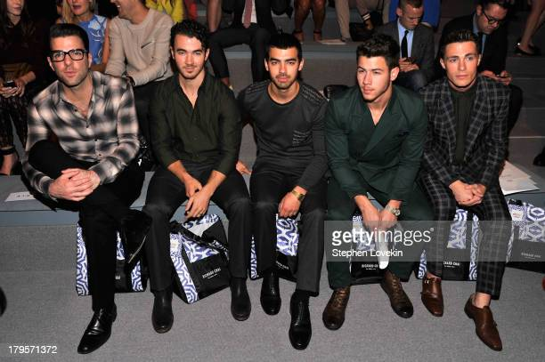 Zachary Quinto Kevin Jonas Nick Jonas Joe Jonas and Colton Haynes attend the Richard Chai Spring 2014 fashion show during MercedesBenz Fashion Week...
