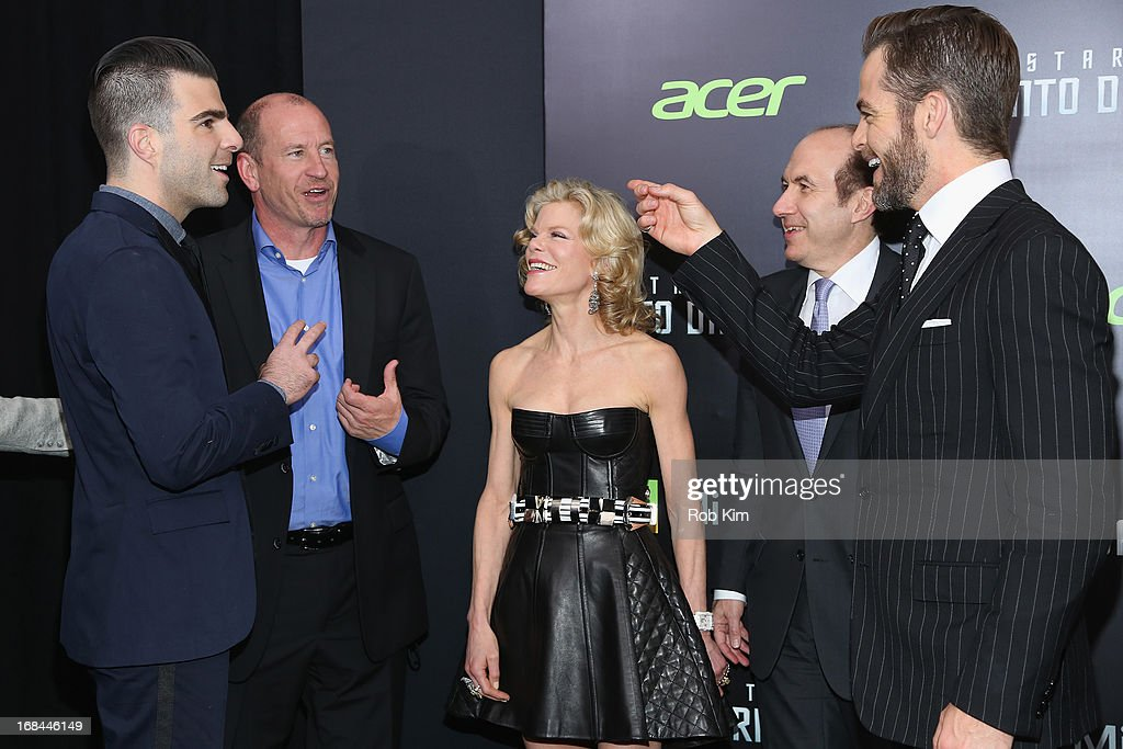 Zachary Quinto, Paramount Pictures Vice Chairman Rob Moore, Debra Dauman, Viacom President and CEO Philippe Dauman, and Chris Pine attend the 'Star Trek Into Darkness' screening at AMC Loews Lincoln Square on May 9, 2013 in New York City.