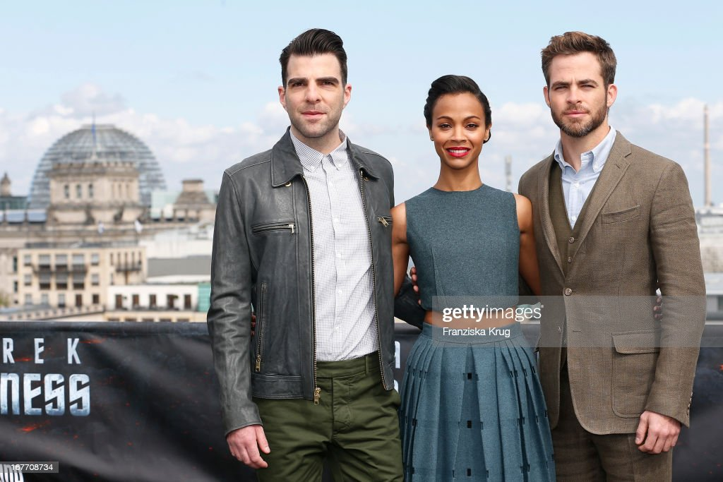 Zachary Quinto, Zoe Saldana and Chris Pine attend the 'Star Trek Into Darkness' Photocall at China Club on April 28, 2013 in Berlin, Germany.