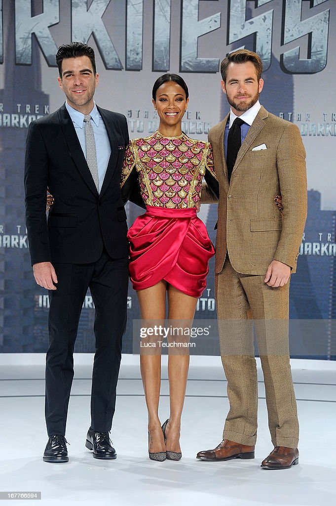 <a gi-track='captionPersonalityLinkClicked' href=/galleries/search?phrase=Zachary+Quinto&family=editorial&specificpeople=715956 ng-click='$event.stopPropagation()'>Zachary Quinto</a>, Zoe Sladana and <a gi-track='captionPersonalityLinkClicked' href=/galleries/search?phrase=Chris+Pine&family=editorial&specificpeople=641995 ng-click='$event.stopPropagation()'>Chris Pine</a> attend the 'Star Trek Into Darkness' German Premiere at CineStar on April 29, 2013 in Berlin, Germany.