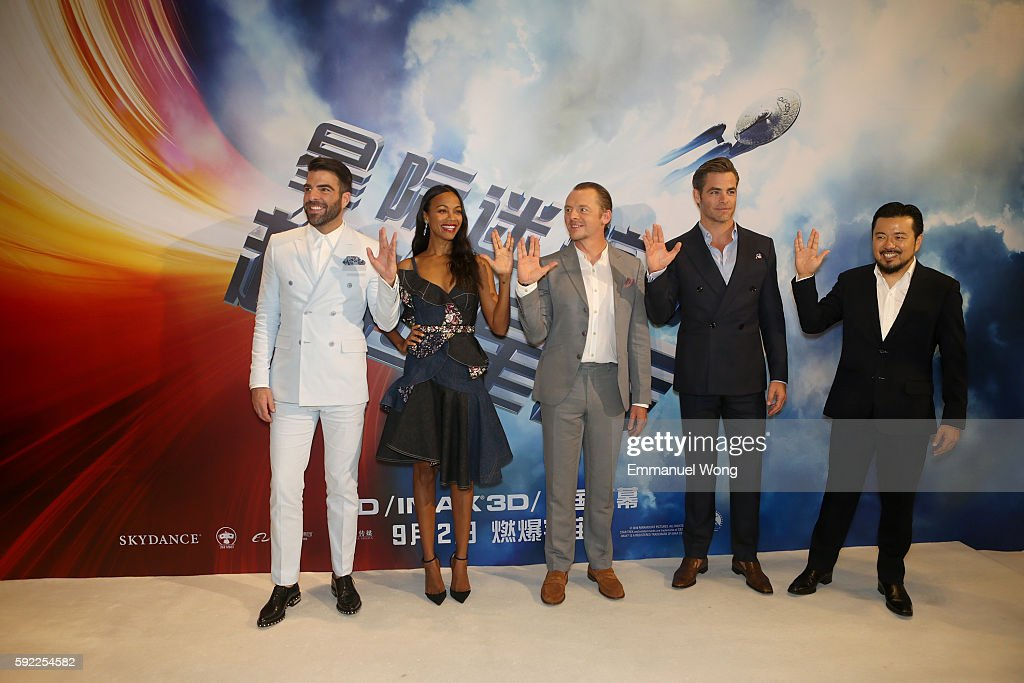 Zachary QuintoZoe saldanaSimon PeggChris Pineattend a red carpet fan screening during the promotional tour of the Paramount Pictures title 'Star Trek...