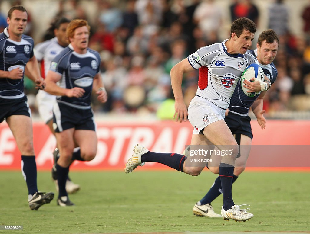Zachary Test of the USA heads for the tryline during day three of the IRB Adelaide International Rugby Sevens Cup match between Scotland and USA at the Adelaide Oval on April 5, 2009 in Adelaide, Australia.