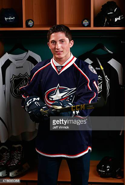 Zachary Werenski poses for a portrait after being selected eighth overall by the Columbus Blue Jackets during Round One of the 2015 NHL Draft at BBT...