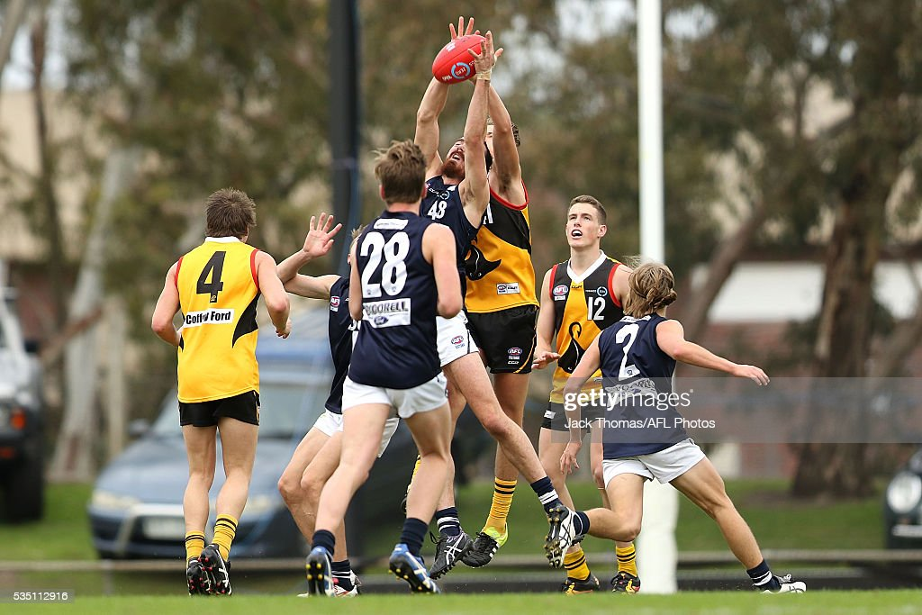 Zachary Zdybel of the Geelong Falcons marks the ball during the round eight TAC Cup match between Dandenong Stingrays and Geelong Falcons at Shepley Oval on May 29, 2016 in Melbourne, Australia.