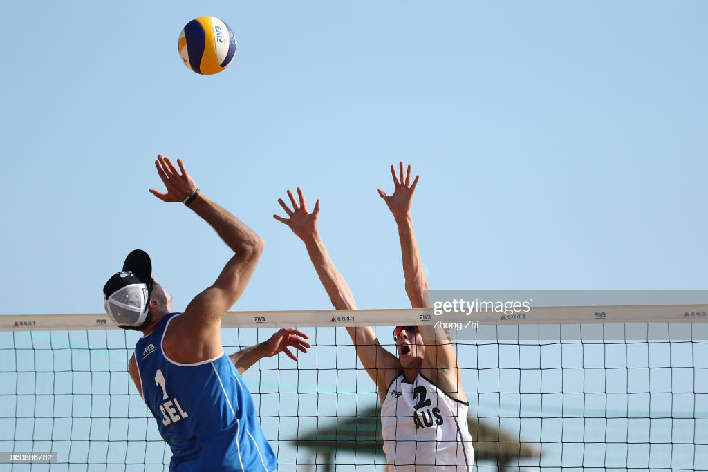 Zachery Schubert of Australia in action with Cole Durant of Australia during the match against Dries Koekelkoren and Tom van Walle of Belgium on Day 3 of 2017 FIVB Beach Volleyball World Tour Qinzhou Open on October 13, 2017 in Qinzhou, China.