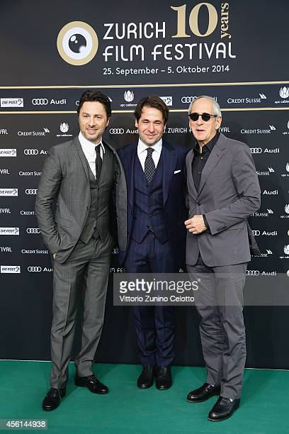 Zack Braff Karl Spoerri and Michael Shamberg attend the Career Achievement Award Arrivals during Day 2 of Zurich Film Festival 2014 on September 26...
