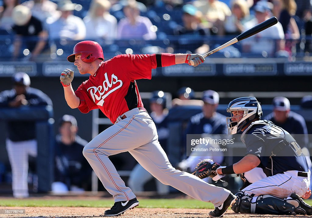 <a gi-track='captionPersonalityLinkClicked' href=/galleries/search?phrase=Zack+Cozart&family=editorial&specificpeople=6889199 ng-click='$event.stopPropagation()'>Zack Cozart</a> #2 of the Cincinnati Reds bats against the San Diego Padres during the third inning of the spring training game at Peoria Stadium on February 26, 2013 in Peoria, Arizona.
