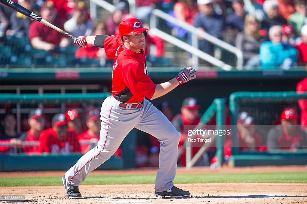 <a gi-track='captionPersonalityLinkClicked' href=/galleries/search?phrase=Zack+Cozart&family=editorial&specificpeople=6889199 ng-click='$event.stopPropagation()'>Zack Cozart</a> #2 of the Cincinnati Reds doubles in the first inning during a spring training game against the Cleveland Indians at Goodyear Ballpark on February 22, 2013 in Goodyear, Arizona.