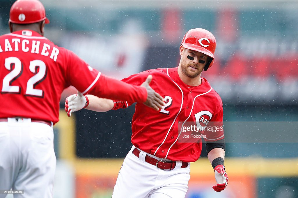 <a gi-track='captionPersonalityLinkClicked' href=/galleries/search?phrase=Zack+Cozart&family=editorial&specificpeople=6889199 ng-click='$event.stopPropagation()'>Zack Cozart</a> #2 of the Cincinnati Reds rounds the bases after a two-run home run against the San Francisco Giants in the second inning of the game at Great American Ball Park on May 4, 2016 in Cincinnati, Ohio.