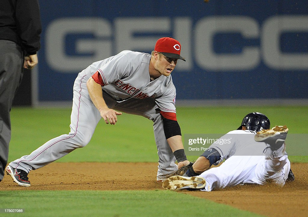 <a gi-track='captionPersonalityLinkClicked' href=/galleries/search?phrase=Zack+Cozart&family=editorial&specificpeople=6889199 ng-click='$event.stopPropagation()'>Zack Cozart</a> #2 of the Cincinnati Reds tags out <a gi-track='captionPersonalityLinkClicked' href=/galleries/search?phrase=Everth+Cabrera&family=editorial&specificpeople=5743470 ng-click='$event.stopPropagation()'>Everth Cabrera</a> #2 of the San Diego Padres as he tries to steal second base during the fifth inning of a baseball game at Petco Park on July 29, 2013 in San Diego, California.