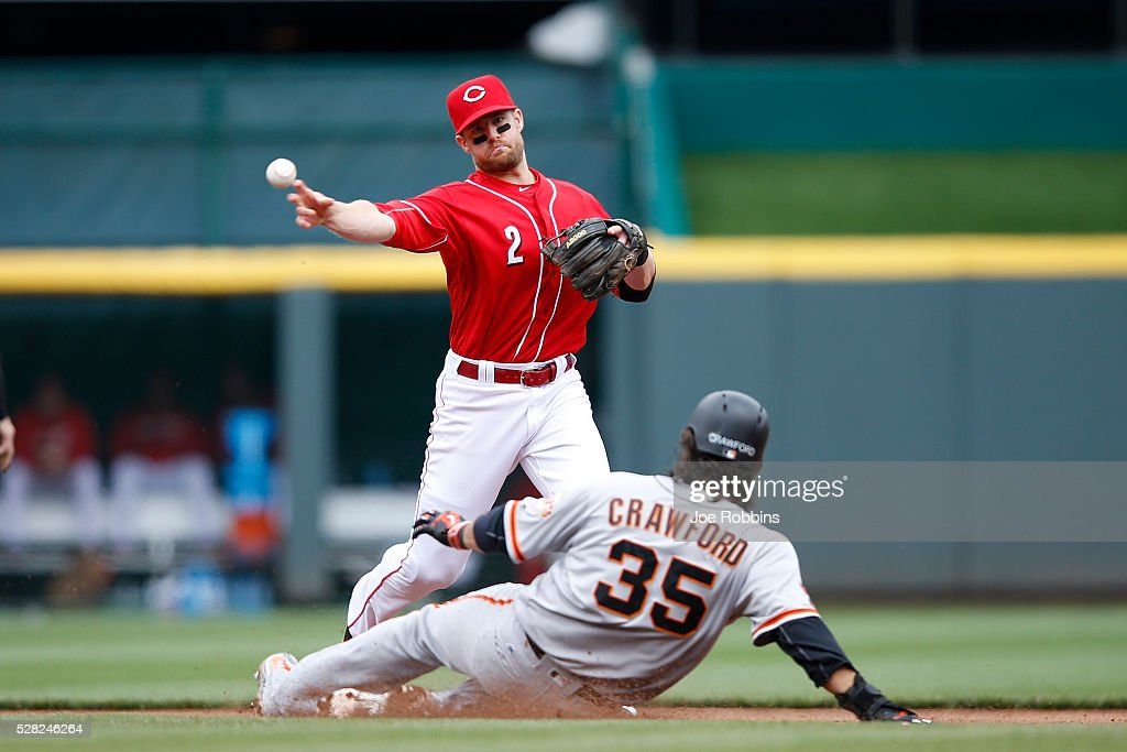 Zack Cozart #2 of the Cincinnati Reds turns a double play against Brandon Crawford #35 of the San Francisco Giants in the eighth inning of the game at Great American Ball Park on May 4, 2016 in Cincinnati, Ohio. The Reds defeated the Giants 7-4.