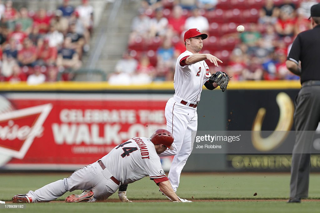 <a gi-track='captionPersonalityLinkClicked' href=/galleries/search?phrase=Zack+Cozart&family=editorial&specificpeople=6889199 ng-click='$event.stopPropagation()'>Zack Cozart</a> #2 of the Cincinnati Reds turns a double play over <a gi-track='captionPersonalityLinkClicked' href=/galleries/search?phrase=Paul+Goldschmidt&family=editorial&specificpeople=7511120 ng-click='$event.stopPropagation()'>Paul Goldschmidt</a> #44 of the Arizona Diamondbacks during the game at Great American Ball Park on August 19, 2013 in Cincinnati, Ohio.