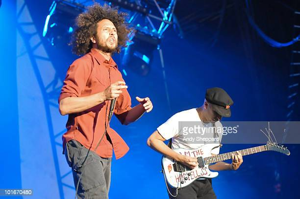 Zack De La Rocha and Tom Morello of Rage Against The Machine perform a free concert at Finsbury Park on June 6 2010 in London England