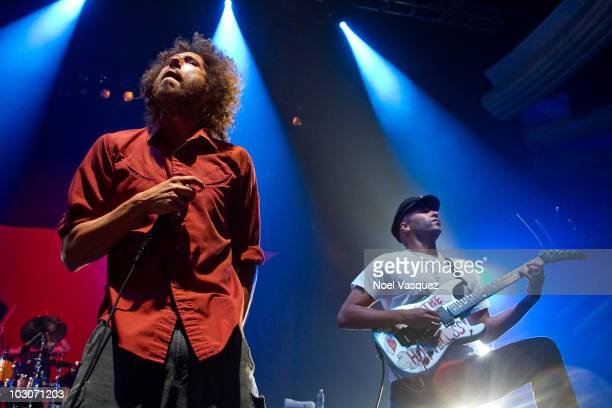 Zack de la Rocha and Tom Morello of Rage Against The Machine perform at the Hollywood Palladium on July 23 2010 in Hollywood California