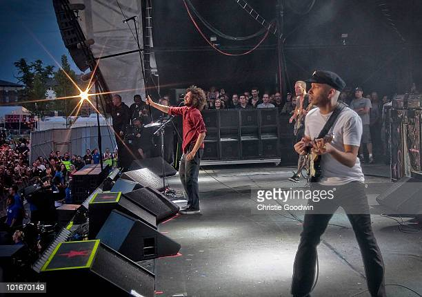 Zack De La Rocha and Tom Morello perform on stage as part of a free concert at Finsbury Park on June 6 2010 in London England
