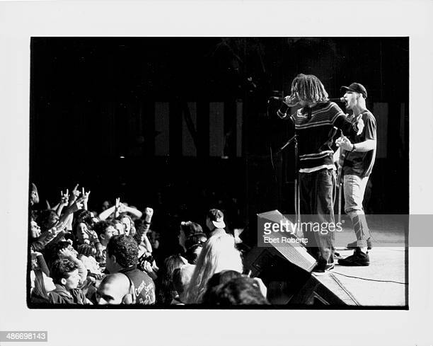 Zack de la Rocha and Tommy Commerford with band Rage Against the Machine on stage at the Roseland Ballroom New York April 11th 1993
