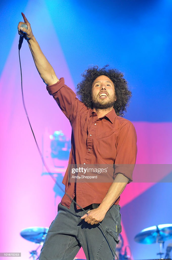 Zack De La Rocha of Rage Against The Machine performs a free concert at Finsbury Park on June 6, 2010 in London, England.