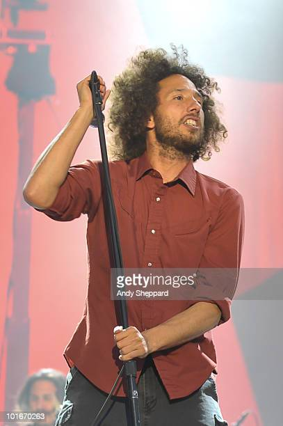 Zack De La Rocha of Rage Against The Machine performs a free concert at Finsbury Park on June 6 2010 in London England
