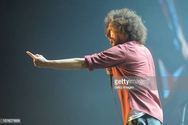 Zack de la Rocha of Rage Against The Machine performs during the second day of Rock am Ring on June 04 2010 in Nuerburg Germany