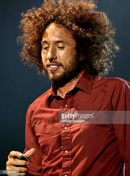 Zack de La Rocha of Rage Against The Machine performs on stage as part of a free concert at Finsbury Park on June 6 2010 in London England