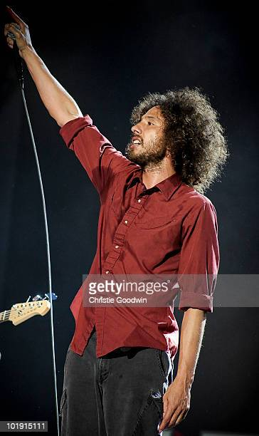 Zack de la Rocha of Rage Against The Machine performs on stage at Finsbury Park on June 6 2010 in London England