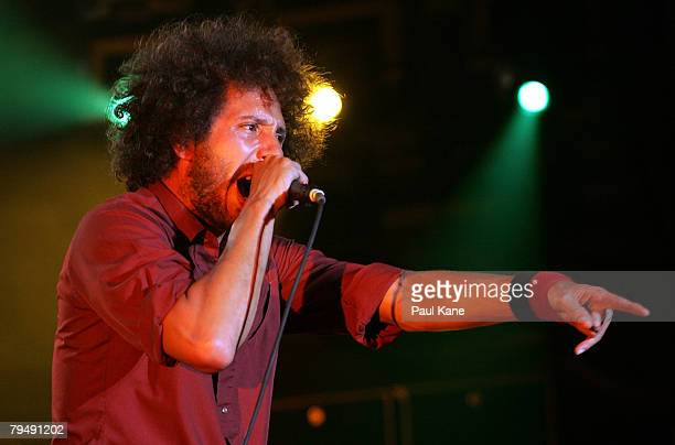 Zack de la Rocha of Rage Against The Machine performs on stage during the 2008 Big Day Out at the Claremont Showgrounds on February 3 2008 in Perth...