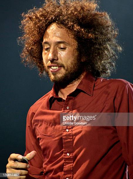 Zack de la Rocha of Rage Against The Machine performs on stage in Finsbury Park on June 6 2010 in London UK