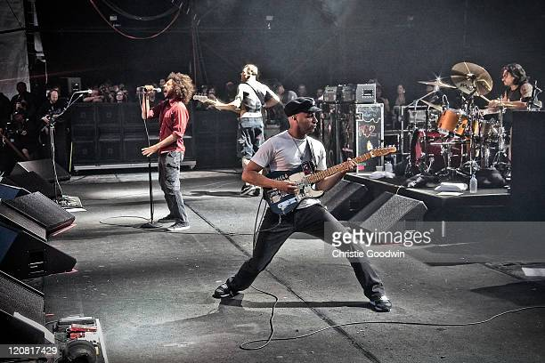 Zack de la Rocha Tim Commerford Tom Morello and Brad Wilk of Rage Against The Machine perform on stage in Finsbury Park on June 6 2010 in London UK