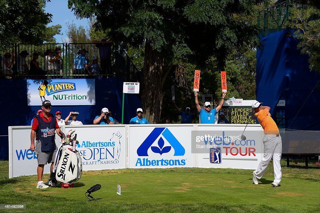 Zack Fischer hits a drive on the 18th hole during the final round of the Web.com Tour Albertsons Boise Open presented by Kraft Nabisco at Hillcrest Country Club on July 12, 2015 in Boise, Idaho.