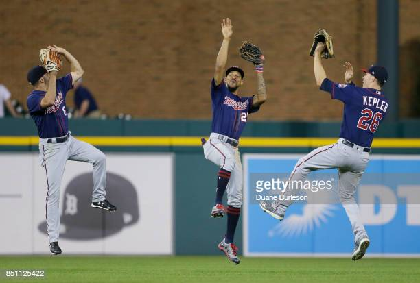 Zack Granite of the Minnesota Twins celebrates with teammates Byron Buxton of the Minnesota Twins and Max Kepler of the Minnesota Twins after a 121...