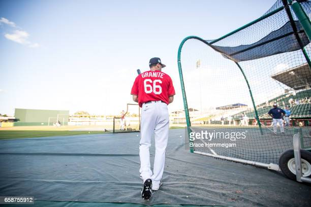 Zack Granite of the Minnesota Twins looks on prior to a game against the Tampa Bay Rays on February 24 2017 at the CenturyLink Sports Complex in Fort...