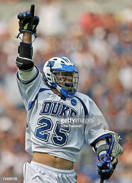 Zack Greer of Duke University celebrates a goal during the game against Cornell University at MT Bank Stadium May 26 2007 in Baltimore Maryland Duke...