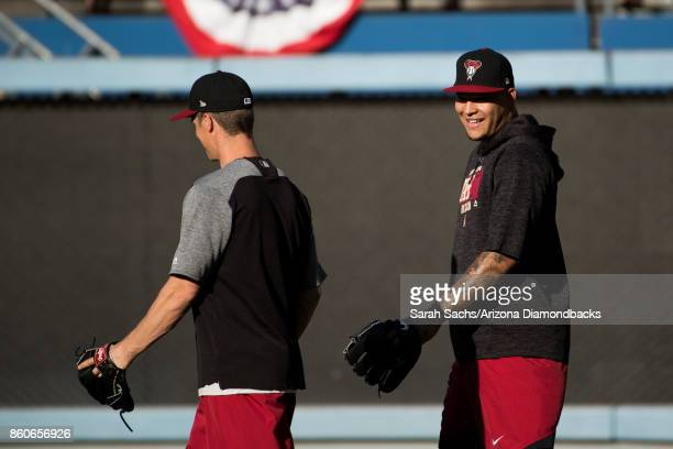 Zack Greinke and Taijuan Walker of the Arizona Diamondbacks during workouts the day before Game One of the National League Division Series at Dodger...