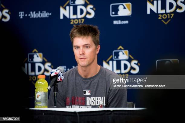 Zack Greinke of the Arizona Diamondbacks addresses the media the day before game three of the National League Division Series between the Los Angeles...