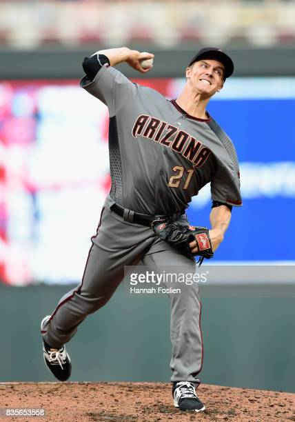 Zack Greinke of the Arizona Diamondbacks delivers a pitch against the Minnesota Twins during the second inning of the game on August 19 2017 at...