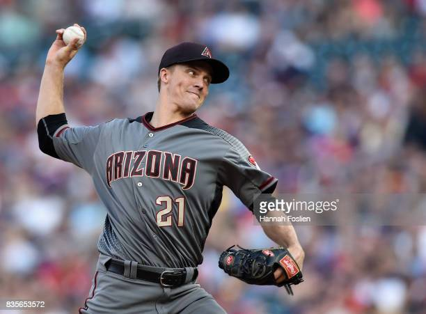 Zack Greinke of the Arizona Diamondbacks delivers a pitch against the Minnesota Twins during the first inning of the game on August 19 2017 at Target...