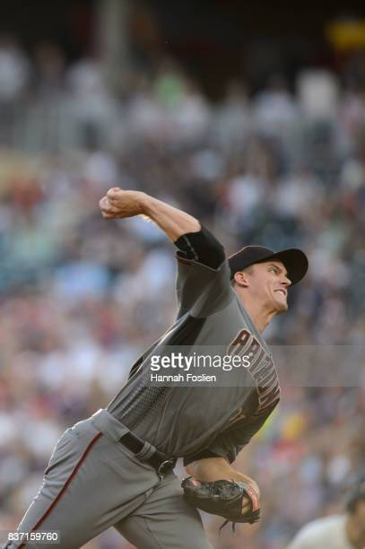Zack Greinke of the Arizona Diamondbacks delivers a pitch against the Minnesota Twins during the game on August 19 2017 at Target Field in...