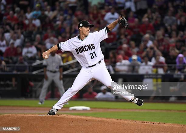 Zack Greinke of the Arizona Diamondbacks delivers a pitch against the Colorado Rockies during the National League Wild Card Game at Chase Field on...