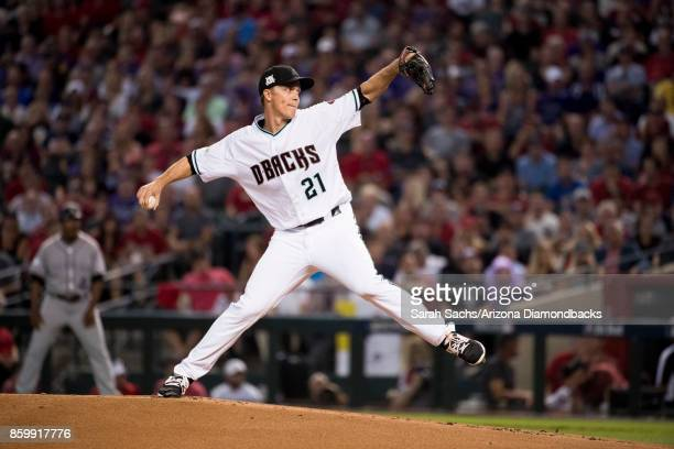 Zack Greinke of the Arizona Diamondbacks delivers a pitch during the National League Wild Card Game against the Colorado Rockies at Chase Field on...