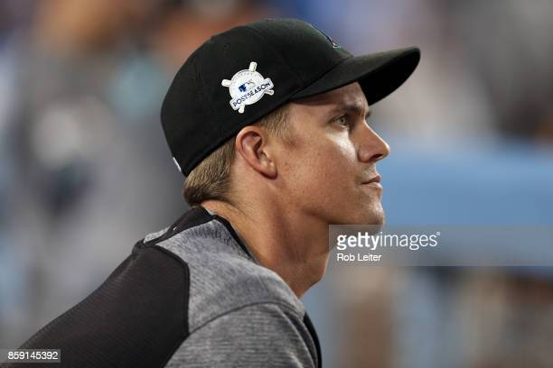 Zack Greinke of the Arizona Diamondbacks looks on during Game 1 of the National League Division Series against the Los Angeles Dodgers at Dodger...