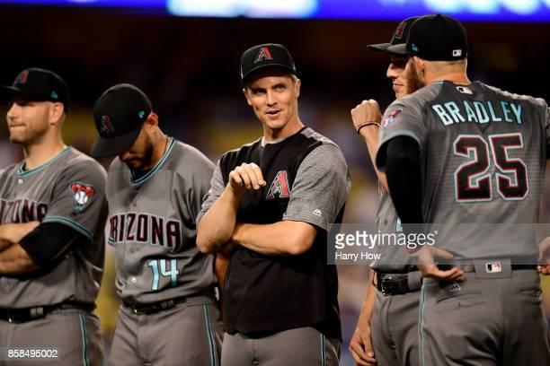Zack Greinke of the Arizona Diamondbacks looks on during player introductions before taking on the Los Angeles Dodgers in game one of the National...