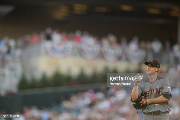 Zack Greinke of the Arizona Diamondbacks looks on during the game against the Minnesota Twins on August 19 2017 at Target Field in Minneapolis...
