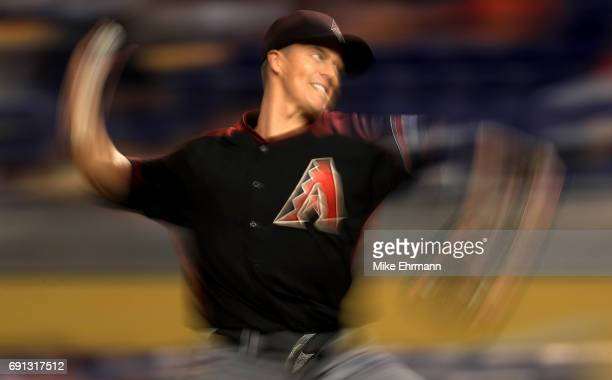 Zack Greinke of the Arizona Diamondbacks pitches during a game against the Miami Marlins at Marlins Park on June 1 2017 in Miami Florida