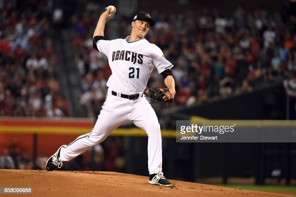 Zack Greinke of the Arizona Diamondbacks pitches during the National League Wild Card game against the Colorado Rockies at Chase Field on Wednesday...