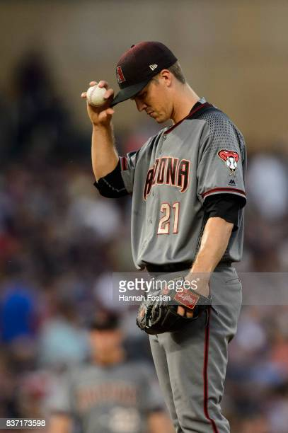 Zack Greinke of the Arizona Diamondbacks reacts during the game against the Minnesota Twins on August 19 2017 at Target Field in Minneapolis...