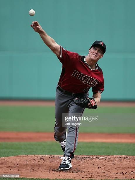 Zack Greinke of the Arizona Diamondbacks throws against the Boston Red Sox in the first inning at Fenway Park on August 14 2016 in Boston...