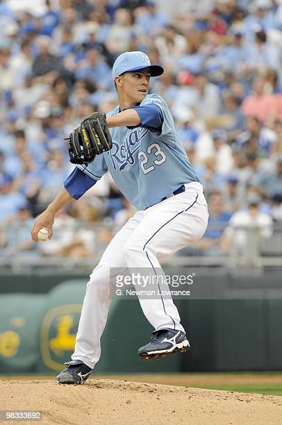 Zack Greinke of the Kansas City Royals delivers the pitch during the season opener game against the Detroit Tigers on April 5 2010 at Kauffman...