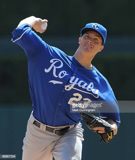 Zack Greinke of the Kansas City Royals pitches against the Detroit Tigers during the game at Comerica Park on September 17 2009 in Detroit Michigan...